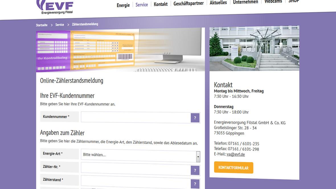 Über verschiedene Formulare lassen sich online z.b. die Kundendaten ändern oder den Zählerstand übertragen