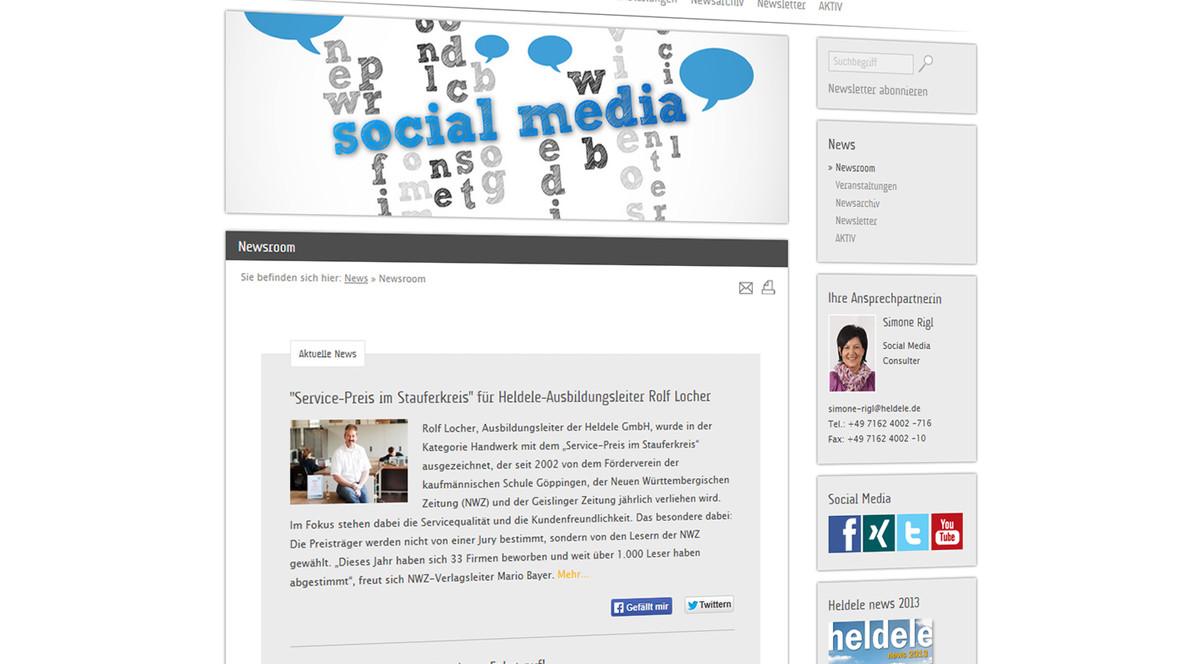 Newsroom mit News-Modul und facebook, twitter und youtube-Beiträgen