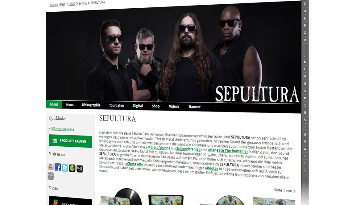 Jede der über 100 Bands wird über eine eigene Subseite mit vielen Informationen präsentiert